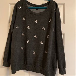 Forever21+ Grey Embellished Sweater